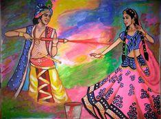 Lord Krishna Images, Radha Krishna Pictures, Radha Krishna Love, Holi Painting, Krishna Painting, Watercolor Paintings, Holi Drawing, Holi Pictures, Happy Holi Images
