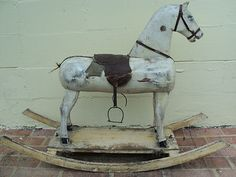 ANTIQUE PRIMITIVE WOOD HAND CARVED ROCKING HORSE OLD LARGE PULL TOY