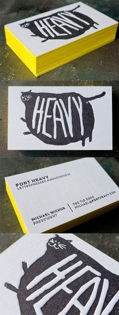 Quirky Neon Yellow Edge Painted Letterpress Business Card Design