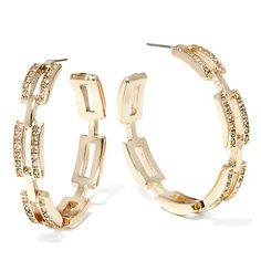 R.J. Graziano Crystal Link-Design Hoop Earrings