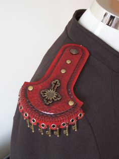 Military Inspired Red Leather Steampunk Epaulettes