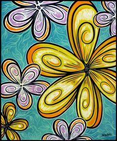 ORIGINAL PAINTING: BLUE AND GOLD FLORAL – Original Retroart Flower Painting – $325 PICTURE: Delightful floral painting of stylish flowers in yellow, purple and blue.  ORIGINAL PAINTING: in Acrylics on 20 x 24 inch x 1.4inch deep wrapped canvas by Phil Burton. It is ready to hang. (March 2012)