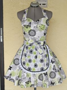 Retro Chic full of flounce apron  Butterflies by AquamarCouture, $42.99