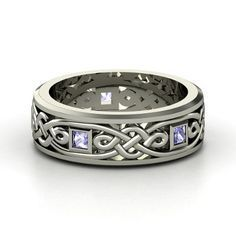 Men's Sterling Silver Ring with Tanzanite | Alhambra Knot Band | Gemvara