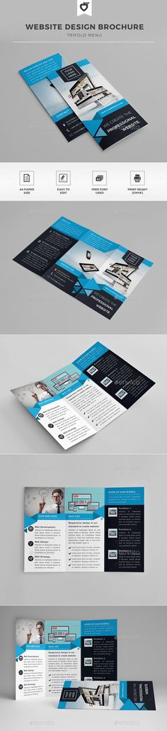 Website Design Trifold Brochure by LeafLove Website design trifold brochure template. This layout is suitable for any project purpose. Very easy to use and customise. ......
