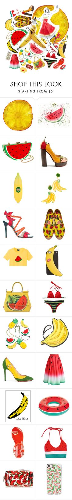 """""""Watermelon & Banana"""" by beanpod ❤ liked on Polyvore featuring Viz Glass, Charlotte Olympia, Tony Moly, Mercedes Salazar, Camilla Elphick, Dolce&Gabbana, Kate Spade, Sunnylife, Chicwish and Andy Warhol"""
