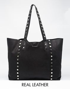 ASOS Unlined Studded Leather Shopper Bag