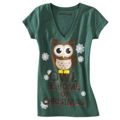 Owl Be Home For Christmas Graphic Tee Pinned by www.myowlbarn.com