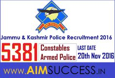 Jammu & Kashmir Police Recruitment 2016 For 5000+ Constables/Armed Police Posts Apply Online Here