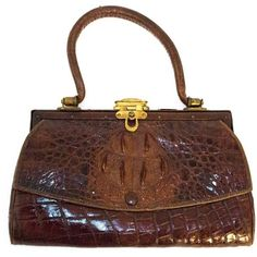 Preowned 1900s Petite Alligator Purse ($250) ❤ liked on Polyvore featuring bags, handbags, brown, top handle bags, handle bag, brown purse, brown handbags, brown bag and preowned handbags