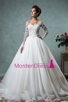 2016 A Line Wedding Dresses V Neck Long Sleeves Tulle With Applique Court Train