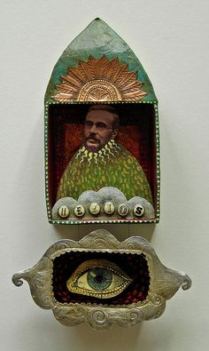 ⌼ Artistic Assemblages ⌼ Mixed Media Collage Art - helios by Julie Liger-Belair Tin Art, Collage Art Mixed Media, Found Object Art, Assemblage Art, Mexican Folk Art, Religious Art, Art Plastique, Medium Art, Oeuvre D'art