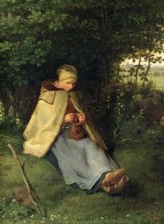 The Knitter (Seated Shepherdess) - Jean Francois Millet (October 4, 1814 – January 20, 1875) was a French painter and one of the founders of the Barbizon school in rural France. Millet is noted for his scenes of peasant farmers; he can be categorized as part of the movements of Realism and Naturalism.