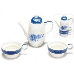 Set teiera con 2 tazze tazzine tè porcellana decorata fiori blu