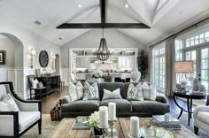 vaulted ceiling in a living room
