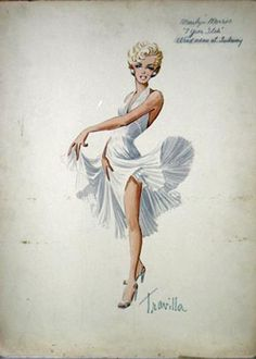 William Travilla's sketch for Marilyn Monroe in The Seven Year Itch (1955).