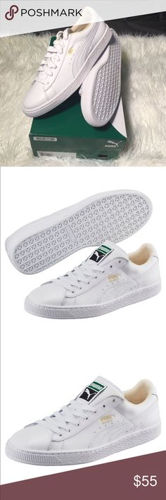 Puma Basket Classic LFS White Men's Basket Classic LFS White Sneaker Leather  upper Flat lacing with