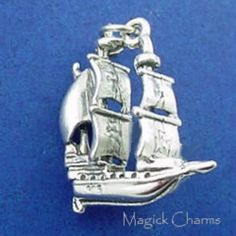 ★ Item ★ Solid Sterling Silver ★ Charm ★ Measures Approx: x x ★ Includes Free Open Jump Ring Silver Charms, Baby Items, Pirates, Buy And Sell, Charmed, Sterling Silver, Ship, 3d, Charm Bracelets