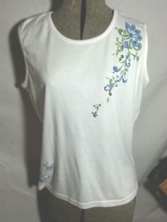 "VINTAGE ""Bill Blass"" 2PC Pants & Tank Top, White w/Flowers Sz PL NWOT #BillBlass #CaprisCropped"