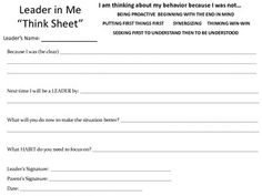 Think Sheet for Leader in Me