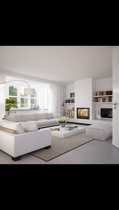 Fantastic Photos White Fireplace gas Ideas Remember when I was hemming and hawing about whether to paint our fireplace white? Home Living Room, Room Design, Home Fireplace, Living Room With Fireplace, Fireplace Design, House Interior, Interior Design Living Room, Home Interior Design, Home And Living