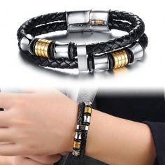 Clasical Double Layer Handmade Leather Weaved Man Bracelets Fashion New Magnet Claspsteel Wristband Jewelry Gold Bangle Bracelet, Link Bracelets, Bracelets For Men, Fashion Bracelets, Bracelet Men, Wrap Bracelets, Gold Bracelets, Leather Bracelets, Fashion Jewelry