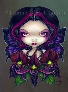 Image detail for -Black Orchid Fairy gothic fantasy big eyed art print by Jasmine Becket ...