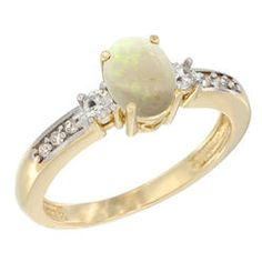 Sabrina Silver 10K Yellow Gold Natural Opal Ring Oval 7x5 mm Diamond Accent  sizes 5 - 10