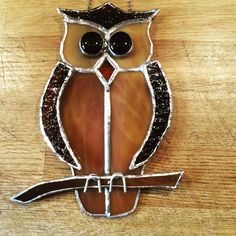 Copper foil stained glass owl