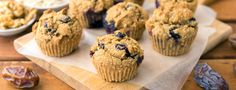 Lemon zest and cardamom give these vegan Blueberry Muffins their amazing flavor and aroma, and dates and applesauce lend natural sweetness and moistness. Vegan Blueberry Muffins, Blue Berry Muffins, Plant Based Whole Foods, Plant Based Eating, Vegan Sweets, Healthy Desserts, Vegan Breakfast Recipes, Vegan Recipes, Plant Based Breakfast