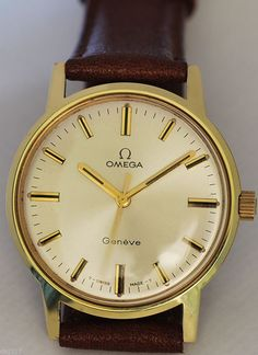 GENTS OMEGA GENEVE WATCH, MANUAL WIND 1970 CALIBER 601, GUARANTEED AUTHENTIC