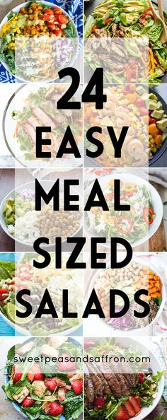24 Easy Meal Sized Salad Recipes, including vegetarian, chicken, beef and seafood salad recipes salad salad salad recipes grillen rezepte zum grillen Easy Salads, Healthy Salads, Easy Meals, Healthy Eating, Healthy Recipes, Healthy Food, Sea Food Salad Recipes, Quick Salad Recipes, Vegetarian Chicken