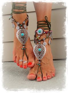 *** EARTHY barefoot beauties for your soul, mind and body ***  NOTE: Beaded Anklet and Fringe shoes are not included-please read on >>>>>>> Pictures # 2 and 4 are showing these bottomless ankle wrap sandals without the anklet and shoes, thats what youll receive.  This design will fit best a US size 7-12; select your size from the menu. Size US 5 and 6: I would not recommend these for the size of the centerpiece; For international customer: use this size conversion chart to find your US size…