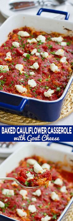Cauliflower has never tasted so good! This Baked Cauliflower Casserole gets a hit of tangy flavor from melted goat cheese. 128 calories and 2 Weight Watchers SmartPoints (Vegan Cauliflower Casserole) Baked Cauliflower Casserole, Vegan Cauliflower, Cauliflower Recipes, Vegetable Side Dishes, Vegetable Recipes, Vegetarian Recipes, Healthy Recipes, Fast Recipes, Ketogenic Recipes