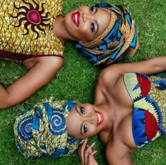 South African Artist Thembi Seete and South African Actress Terry Pheto collaborated to take a series of photos in mixed ankara print outfits for Africa African Wear, African Attire, African Women, African Dress, African Style, African Models, African Clothes, African Inspired Fashion, African Print Fashion