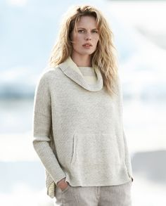 Poetry - Cotton and alpaca cowl neck sweater - A lovely, poncho-style sweater knitted in a textured basket-stitch with contrasting rib-stitch sleeves. A relaxed boxy fit with a hemline that is slightly longer at the back, loose roll neckline and a kangaroo pocket at the front. 59% cotton 41% baby alpaca