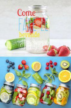 Idea per acqua detox servita in barattoli di vetro, come fare le bevande Detox Recipes, Raw Food Recipes, Healthy Recipes, Healthy Detox, Healthy Life, Detox Organics, Juice Plus, Fruit Displays, Infused Water