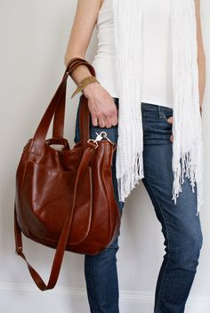 DOUBLE STRAP URSULA  Oversized  Leather Bag  Carry by margeandrudy, $315.00