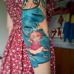 This inconceivably cute depiction of Ponyo. | 27 Studio Ghibli Tattoos That'll Bring Out Your Inner Child