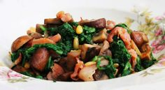 Turnip-greens with bacon and mushrooms