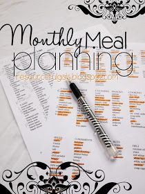 The Resourceful Gals: Monthly Meal Planning