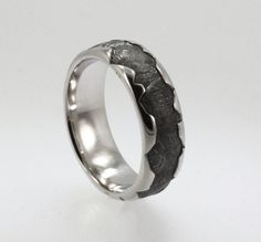 Meteorite inlaid in a Platinum Ring with a wavy by jewelrybyjohan, $1799.00    AHHH! Everything Johan does is AMAZING...