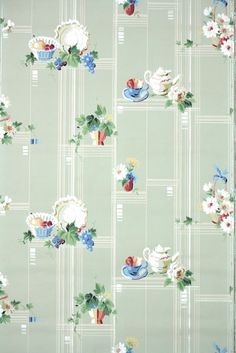Vintage Wallpaper Antique Kitchen Dishes Flowers and Fruity on Green Antique Wallpaper, Of Wallpaper, Vintage Wallpapers, Kitchen Background, Paper Background, 1930s Kitchen, Kitchen Wallpaper, Borders For Paper, Frame Clipart