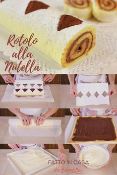 Rotolo alla nutella, ricetta facile per un dolce morbido e goloso. Cake Roll Recipes, Dessert Recipes, Italian Cookies, Biscotti, Cake Servings, Mini Desserts, Sweet Cakes, Bread Baking, Cake Cookies