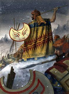 """Thracian peltasts fighting Greeks"", Johnny Shumate"