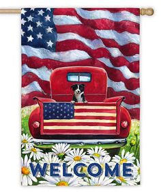 Love this Patriotic Pup & Truck Flag by Evergreen on #zulily! #zulilyfinds