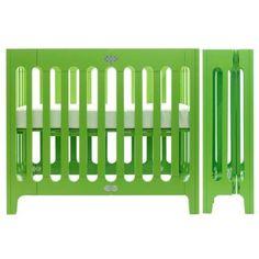 bloom Alma Urban Mini Folding Crib in Gala Green - can't get enough of this amazing green color! #modernnursery #summerinthecity