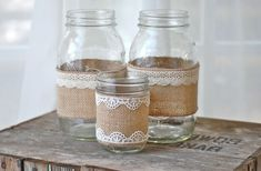 Burlap and lace mason jars / rustic wedding / country wedding / vase So cute for the lake house! Burlap Mason Jars, Mason Jar Crafts, Pots Mason, Wedding Vases, Rustic Wedding, Wedding Country, Wedding Ideas, Wedding Table, Wedding Photos