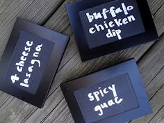 Mini frames with chalkboard paint. So great for party foods.