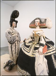 Left: 'Empress' (2003) by Japanese born, Seattle based ceramic sculptor Akio Takamori (b 1950). Hand-built, stoneware, 53 x 23 x 17 in. Right:  'Queen' (2003), Hand-built, stoneware,  42 x 32 x 17 in. via James Harris Gallery